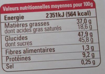 Chocolat lait nougatine noisette - Informations nutritionnelles - fr