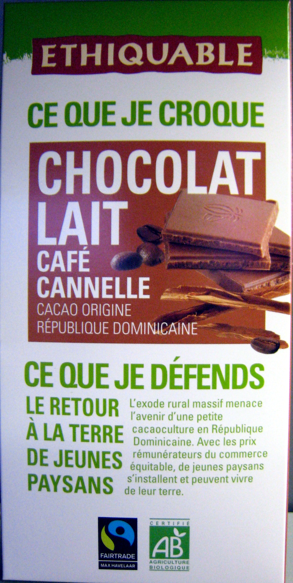 Chocolat au lait café cannelle Cacao origine République Dominicaine Ethiquable - Product