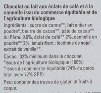 Chocolat au lait café cannelle Cacao origine République Dominicaine Ethiquable - Ingredients