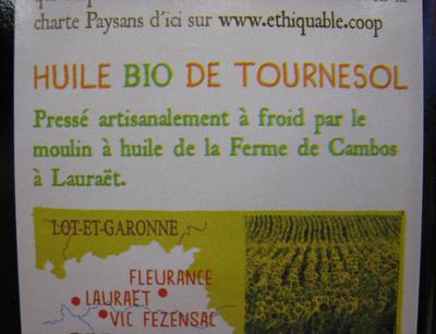 Huile de Tournesol du Gers bio équitable - Ingrédients - fr