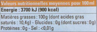 Huile de Tournesol du Gers bio équitable - Informations nutritionnelles - fr