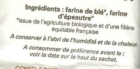 Farine Bio Blé et grand épeautre du Gers T80 - Ingredients