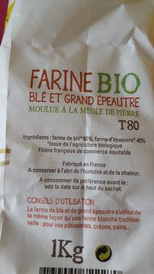 Farine Bio Blé et grand épeautre du Gers T80 - Nutrition facts