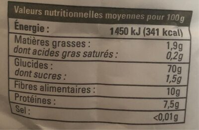 Farine de blé variété ancienne - Informations nutritionnelles - fr