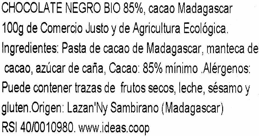 Chocolat noir 85% Madagascar - Ingredientes - es