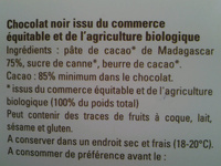Chocolat noir Madagascar 85% grand cru Sambirano - Ingredients