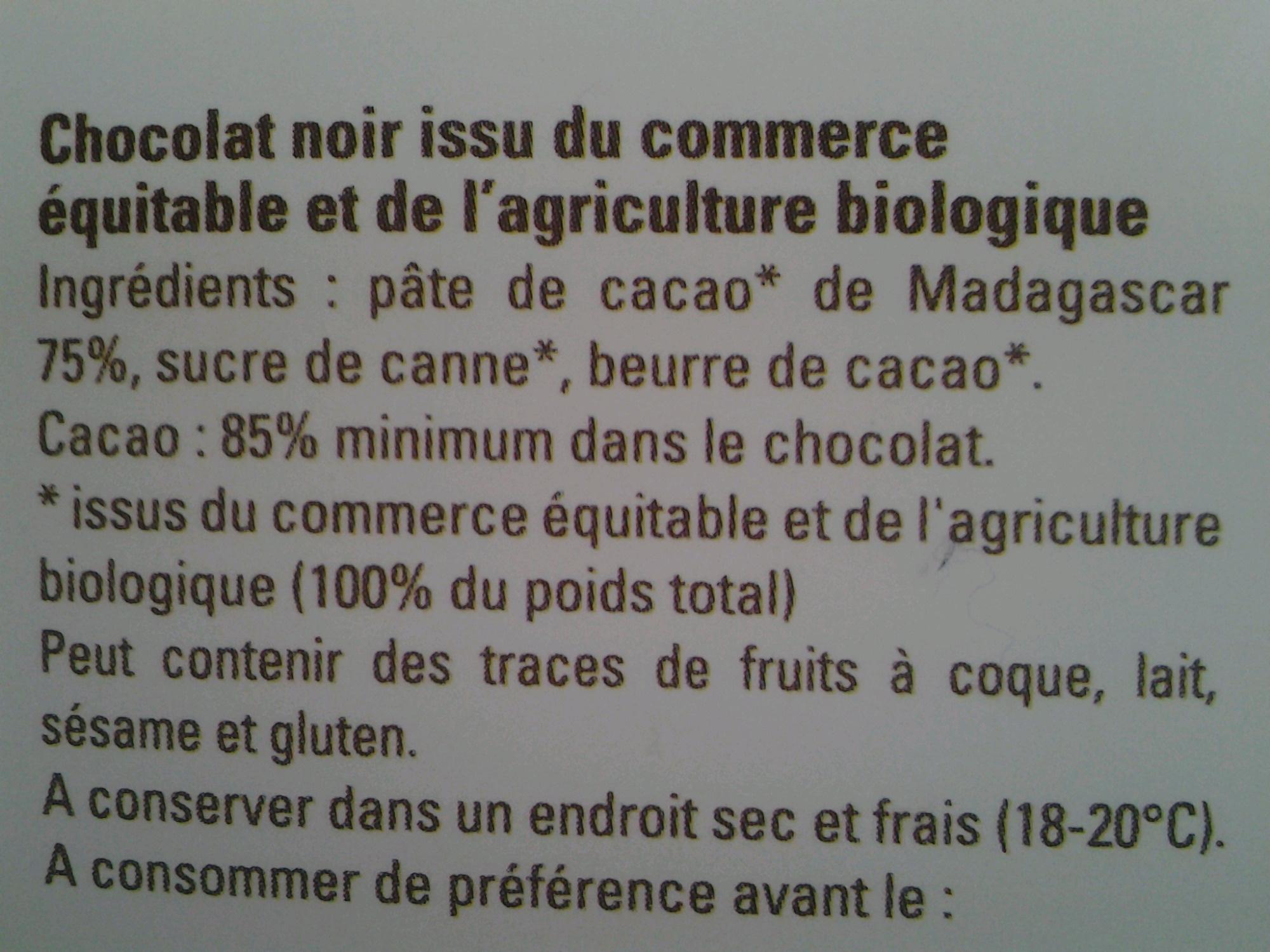 Chocolat noir 85% Madagascar - Ingredients - fr