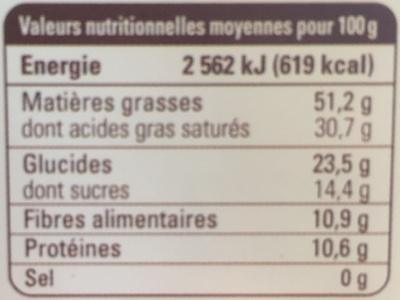 Chocolat noir Madagascar 85% grand cru Sambirano - Información nutricional