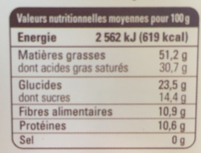 Chocolat noir Madagascar 85% grand cru Sambirano - Nutrition facts