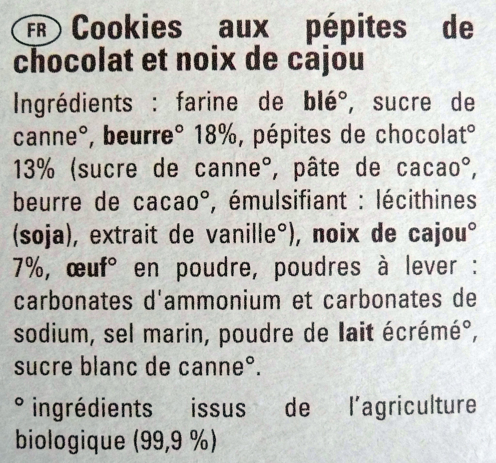 Cookies - Ingrediënten - fr