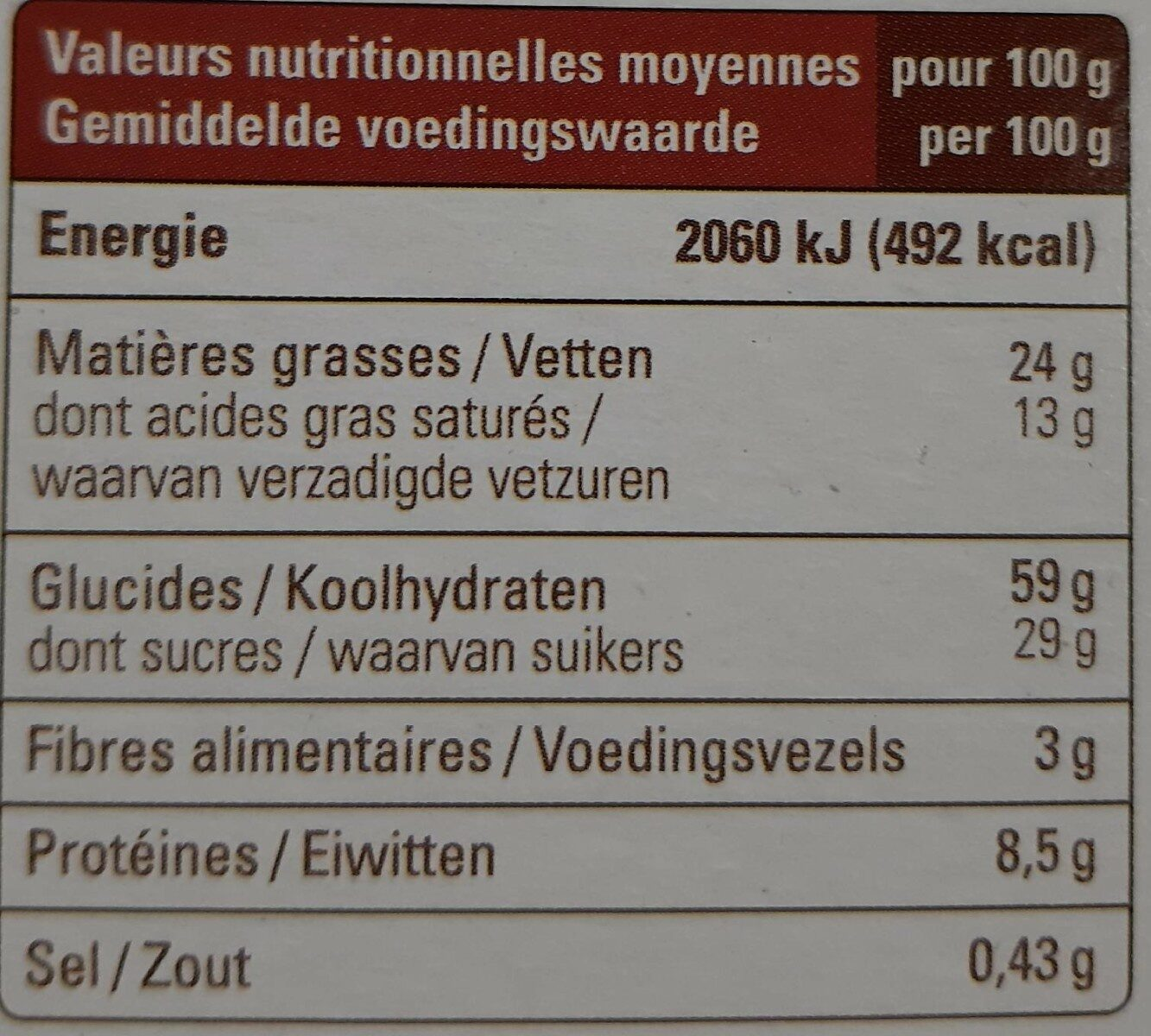 Cookies - Voedingswaarden - fr