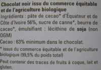 Chocolat noir extra - Ingredients - fr
