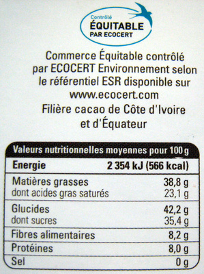 Chocolat noir extra - Nutrition facts - fr