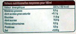 Pur jus Mangue Passion Pomme - Informations nutritionnelles - fr