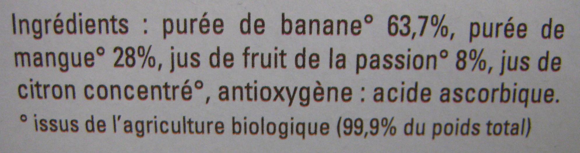 Banane Mangue Passion bio - Ingrediënten - fr