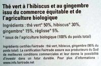 Thé vert Hibiscus Gingembre - Ingredienti - fr