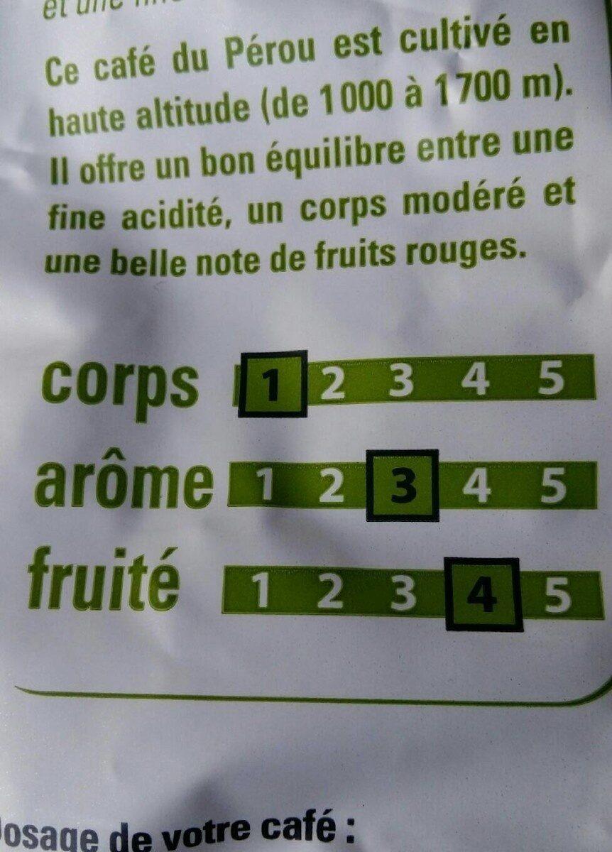 Café Pérou - Voedingswaarden - fr