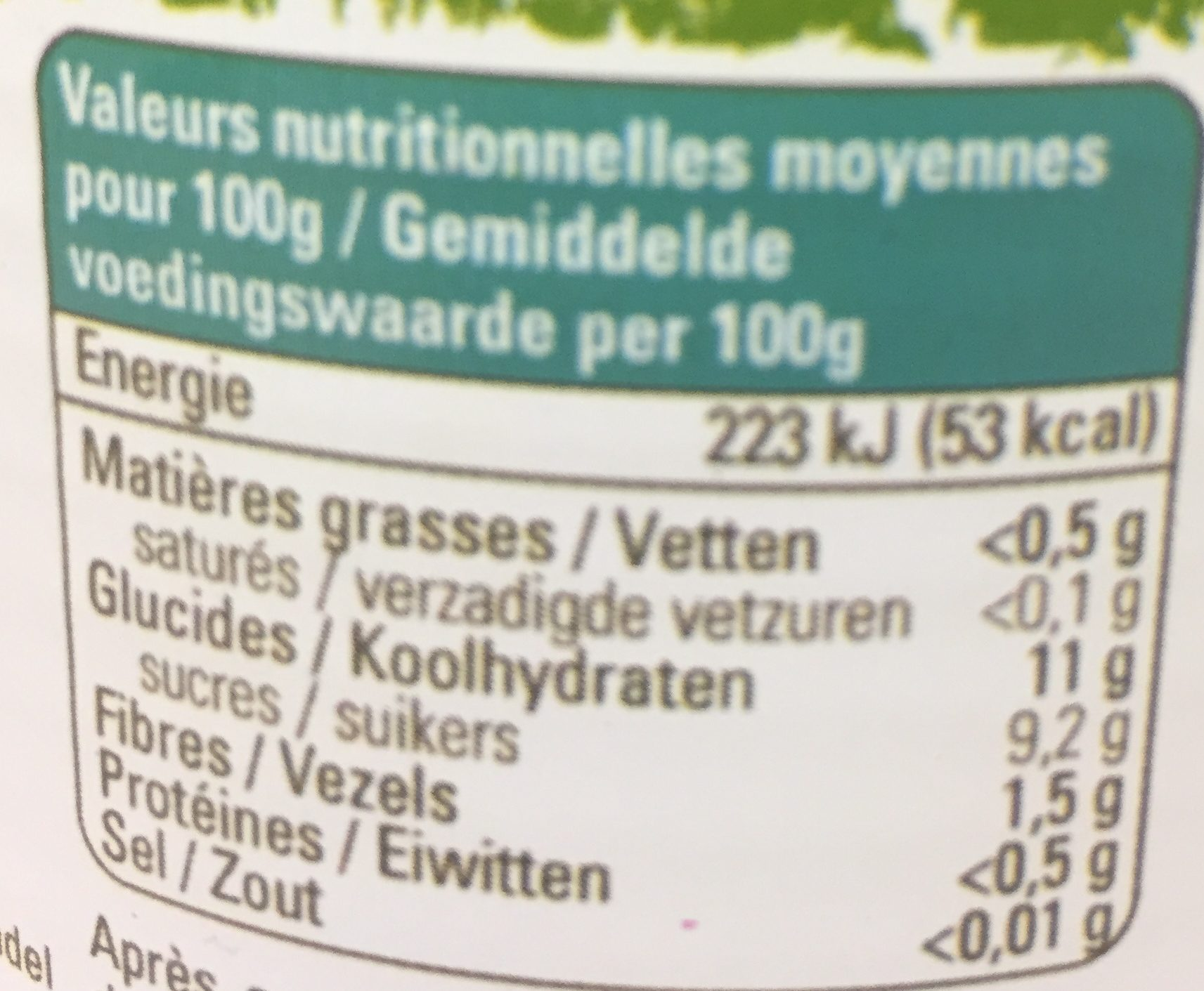 Ananas de Madagascar - Nutrition facts - fr