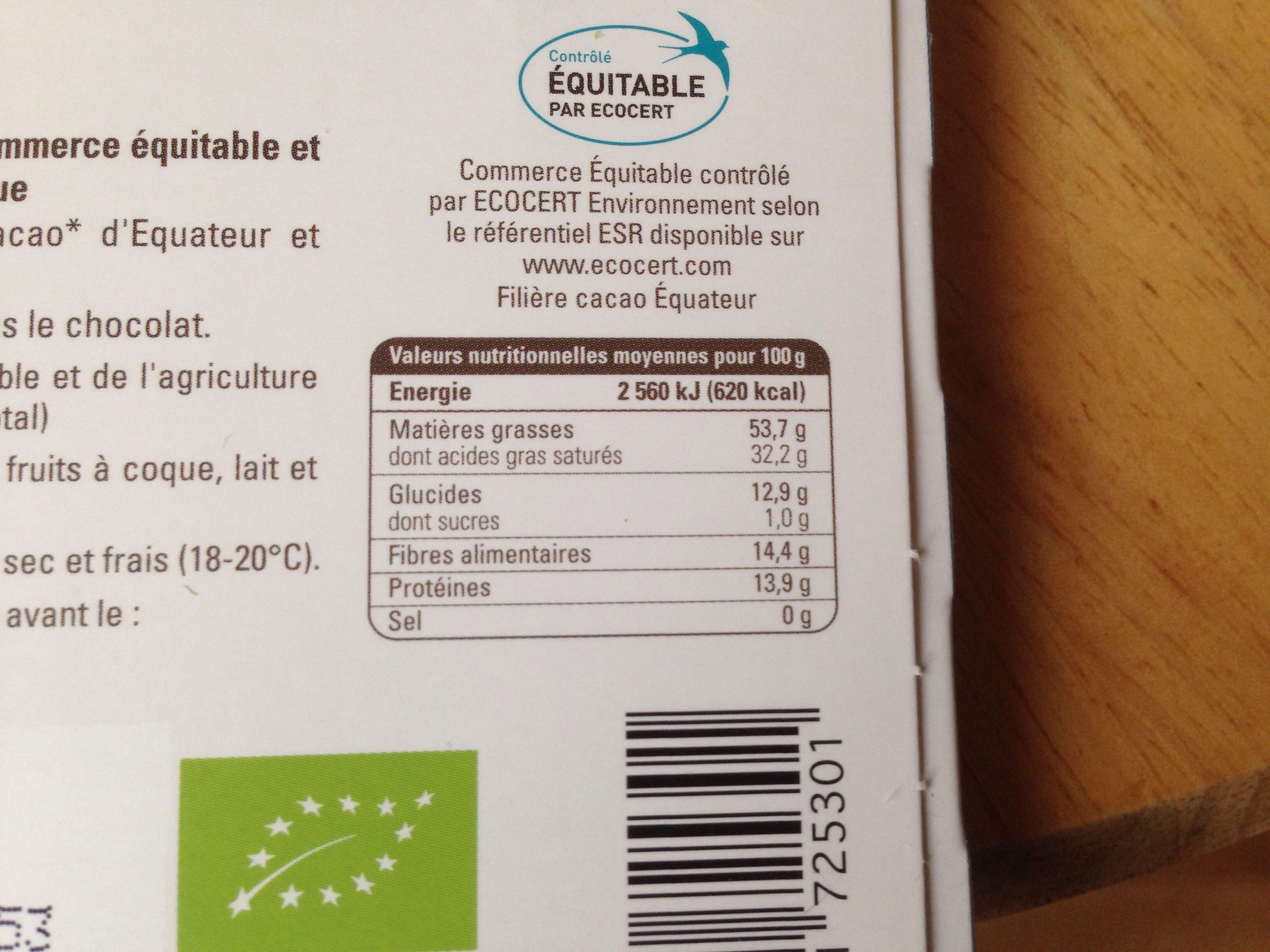Chocolat noir 98 % Équateur - Nutrition facts - fr