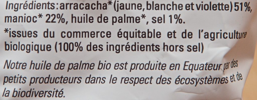 Chips Arracacha Manioc Équitable et Bio - Ingrédients - fr