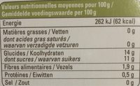 Compote Ananas Citron Vert Mangue Pomme - Nutrition facts