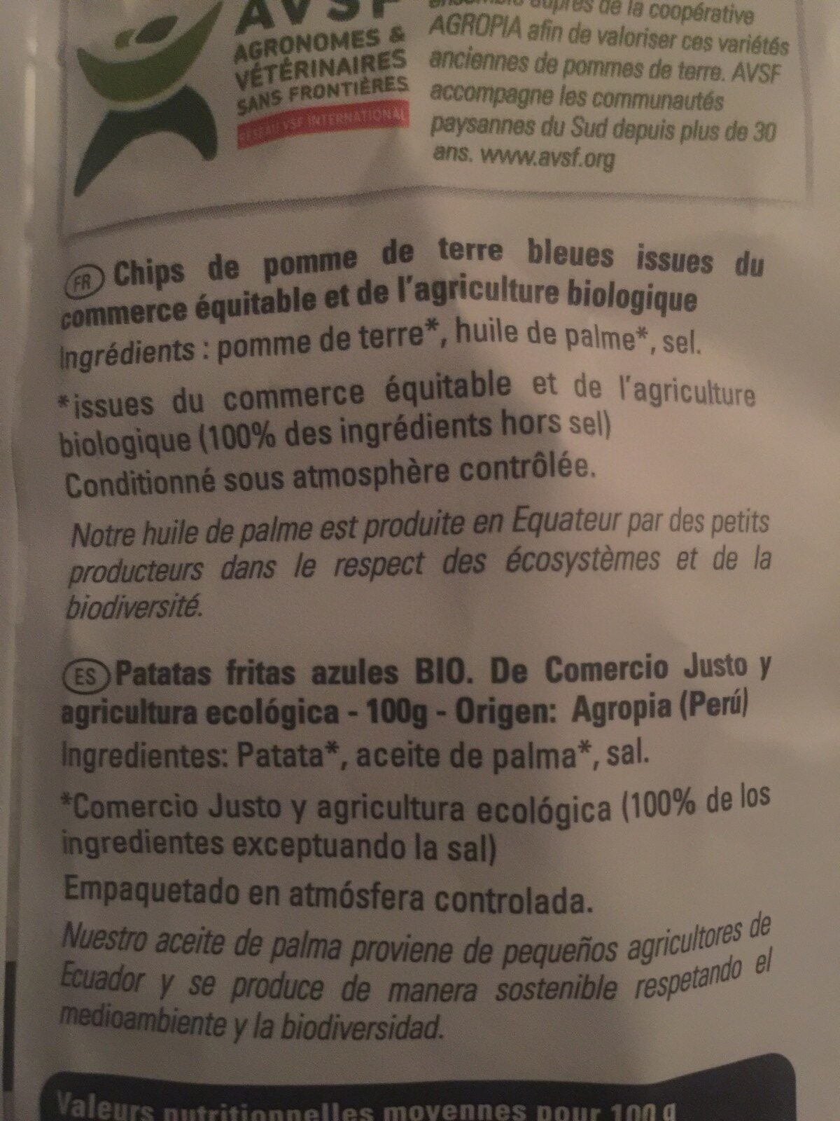 Chips pomme de terre bleue - Ingredients