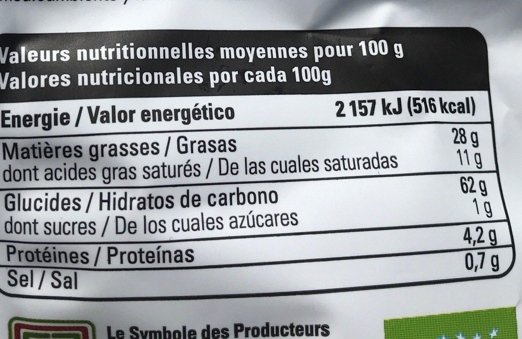 Chips pomme de terre bleue - Nutrition facts - fr