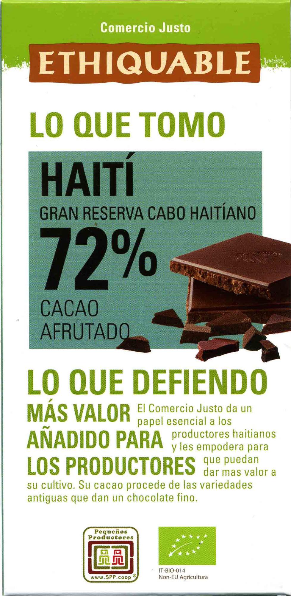 Chocolate negro Haití 72% cacao - Product