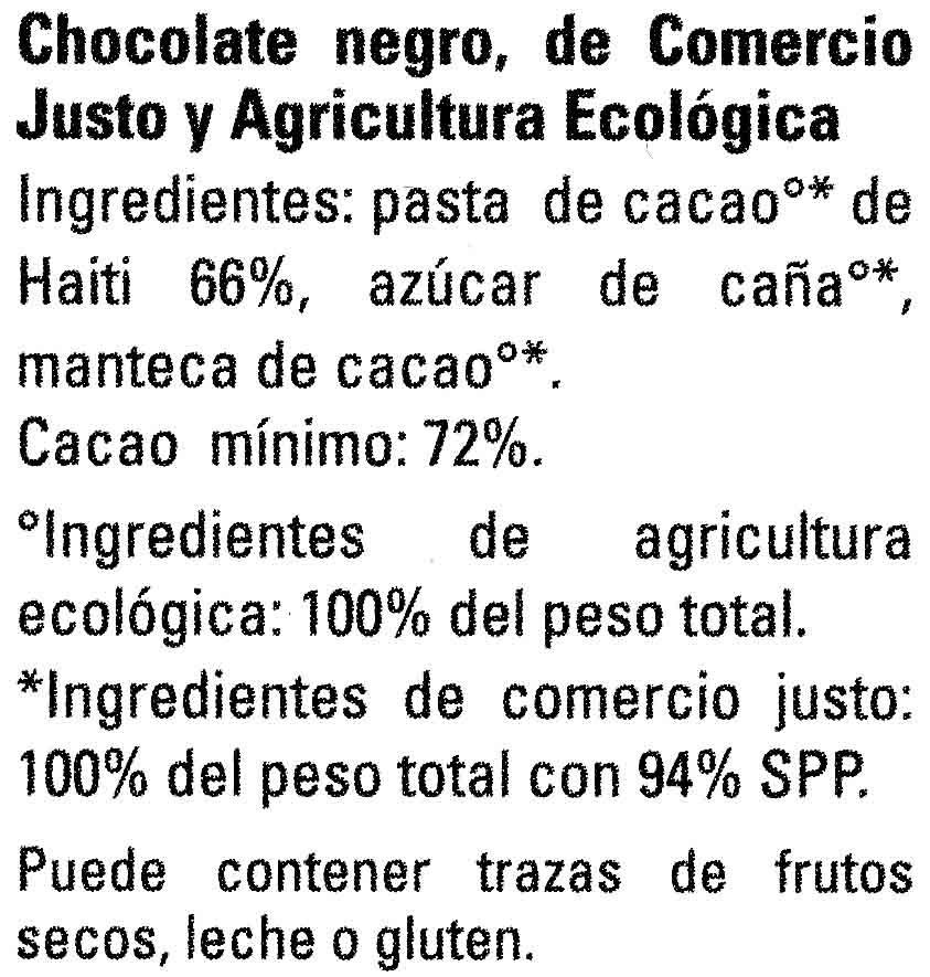 Chocolate negro Haití 72% cacao - Ingrediënten