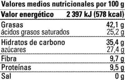 Chocolate negro Haití 72% cacao - Voedingswaarden
