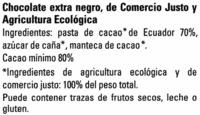 Chocolate Ecuador 80% - Ingrédients - es