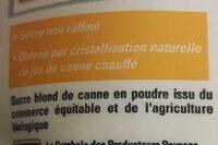 Sucre blond de canne en poudre - Ingrédients - fr