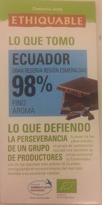 Chocolate negro cacao de ecuador ecológico - Produit