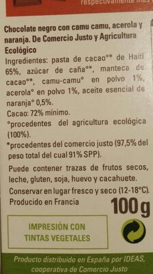 chocolate negro - Nutrition facts