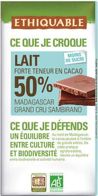 Chocolat Lait Grand Cru Sambirano 50% - Product - fr