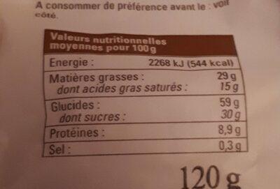 Sablé bio - Voedingswaarden - fr