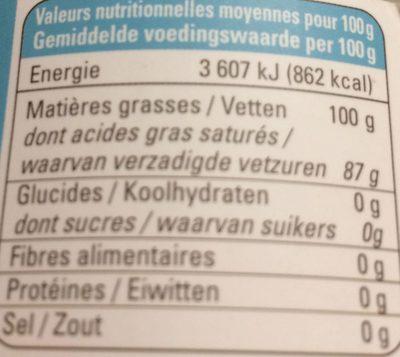 Huile de coco vierge - Nutrition facts