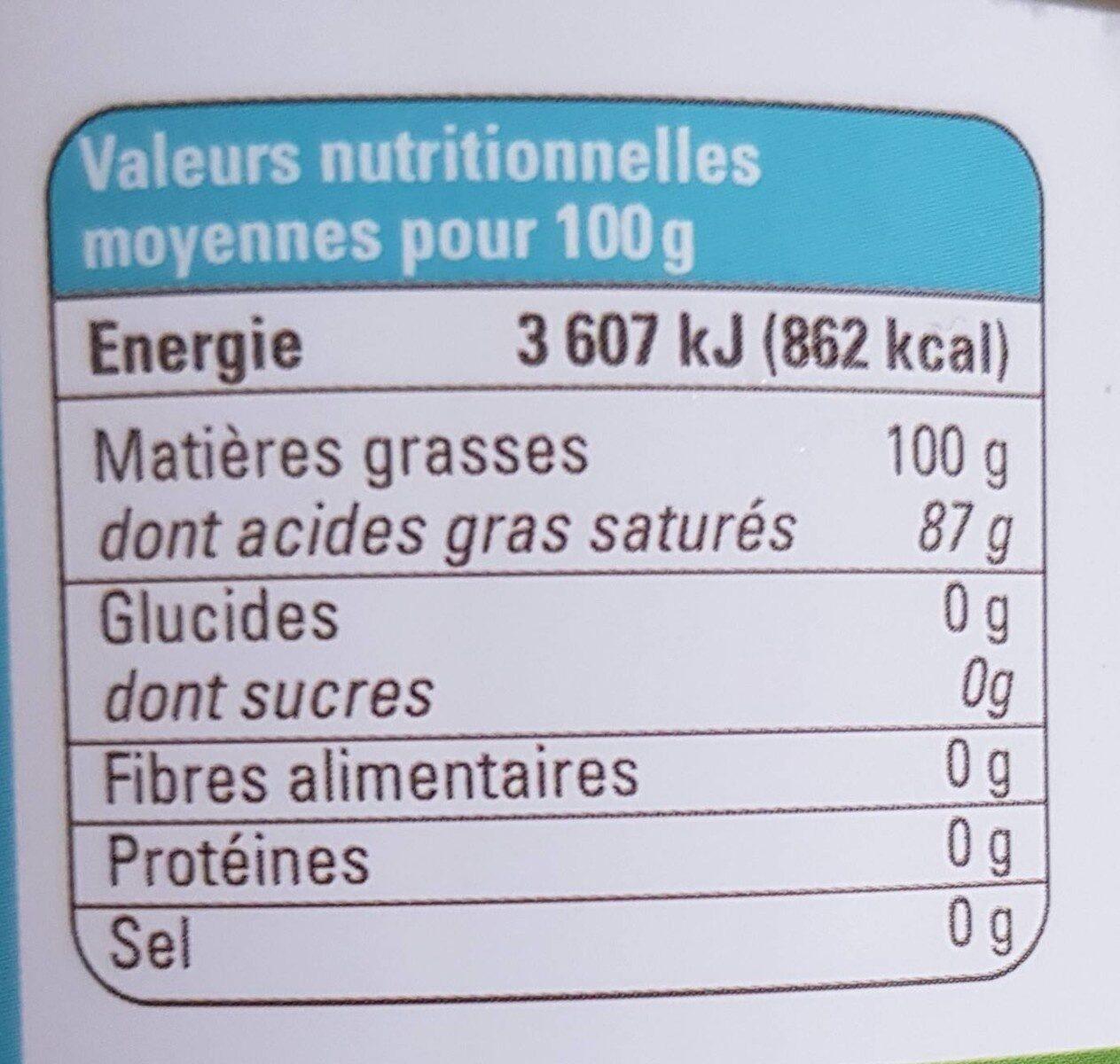 HUILE VIERGE DE COCO - Voedingswaarden - fr