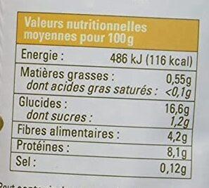Lentilles blondes bio - Informations nutritionnelles - fr