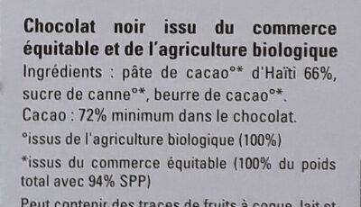 Chocolat noir Haïti 72% - Ingredients - fr