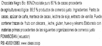 Chocolat noir 80% Equateur - Ingredientes - es