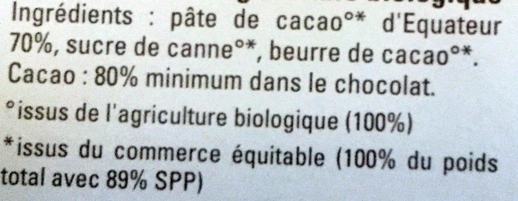 Chocolat noir 80% Equateur - Ingredients - fr