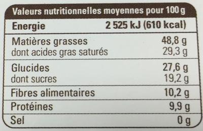 Chocolat noir 80% Equateur - Información nutricional - es