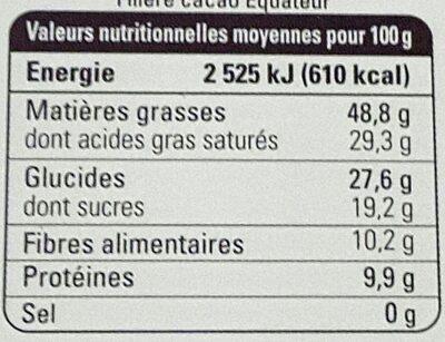 Chocolat noir 80% Equateur - Nutrition facts - fr