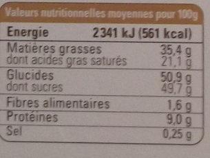 Chocolat au lait tendre et fondant - Nutrition facts