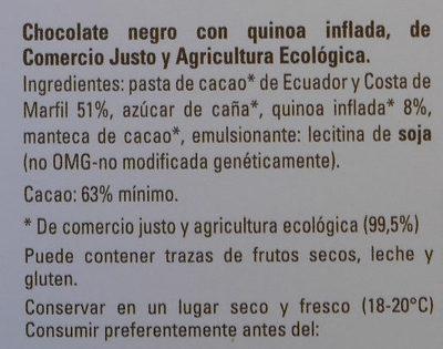 Chocolate negro quinoa - Ingredientes