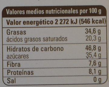 Chocolate negro quinoa - Información nutricional