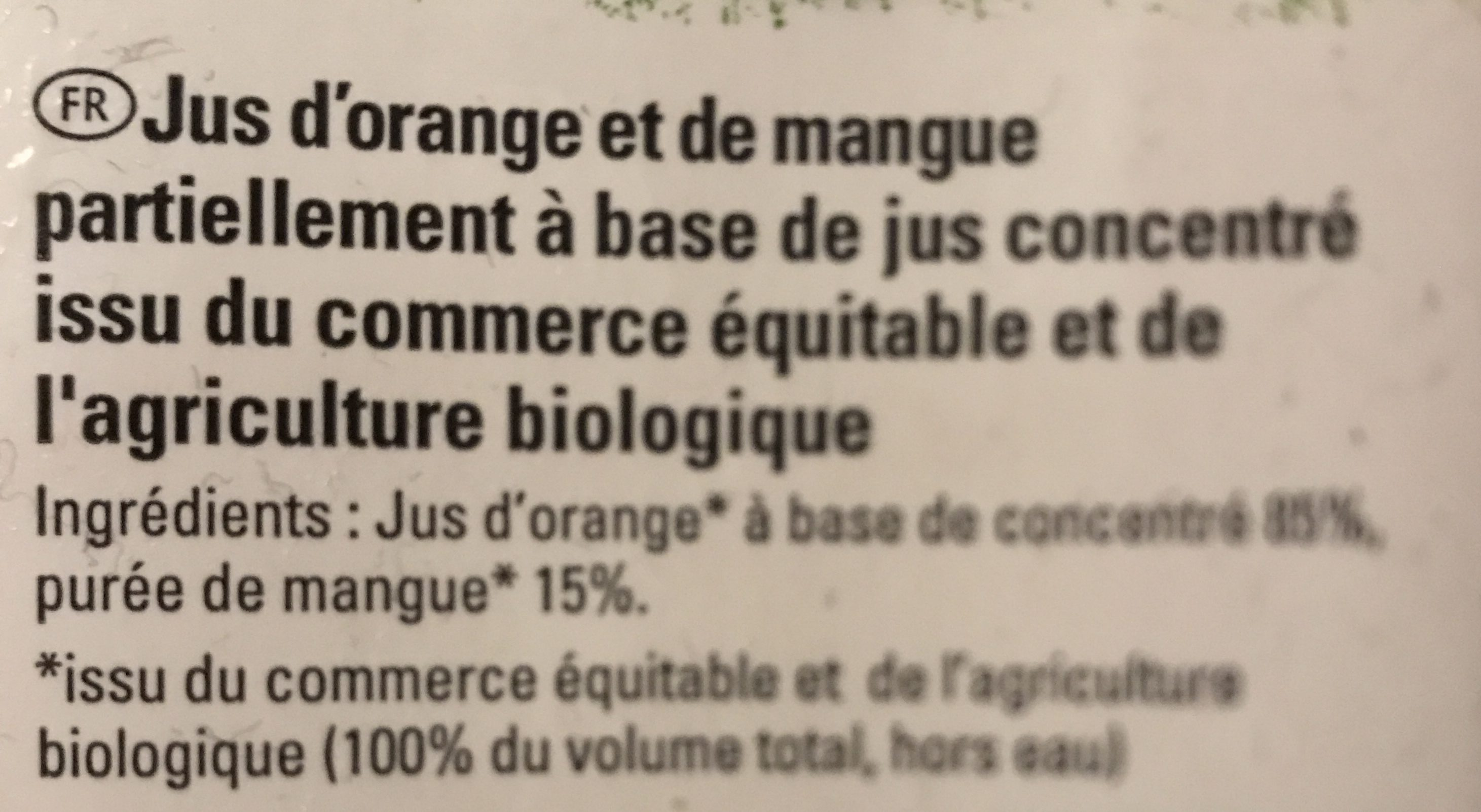 Jus Orange Mangue Bio & équitable - Ingrédients