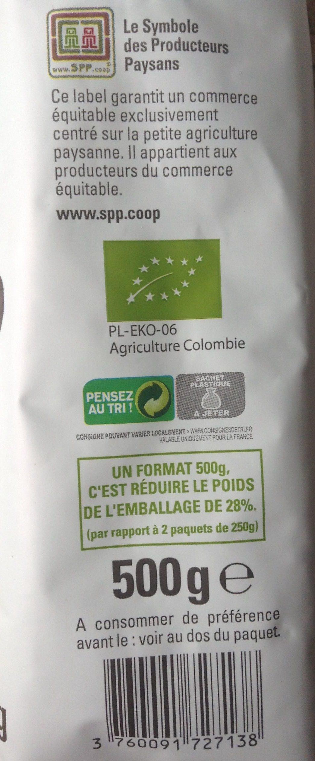 Café Colombie Grains Bio & équitable - 500 G - Ingredients - fr