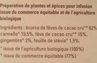 Infusion cacao et cannelle - Ingrédients - fr